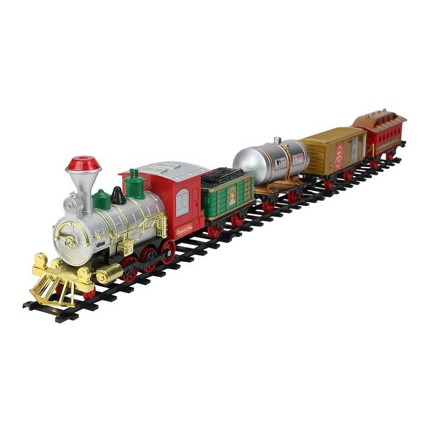 17-Piece B/O Animated Christmas Express Train Set with Sound - RED