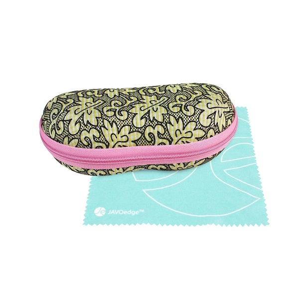 JAVOedge Two Tone Floral Eyewear Zipper Case and Bonus Mircofiber Cleaning Cloth - YELLOW