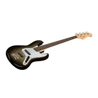 Monoprice Electric Bass - Charcoal With Gig Bag, Flamed Maple - Indio Jamm