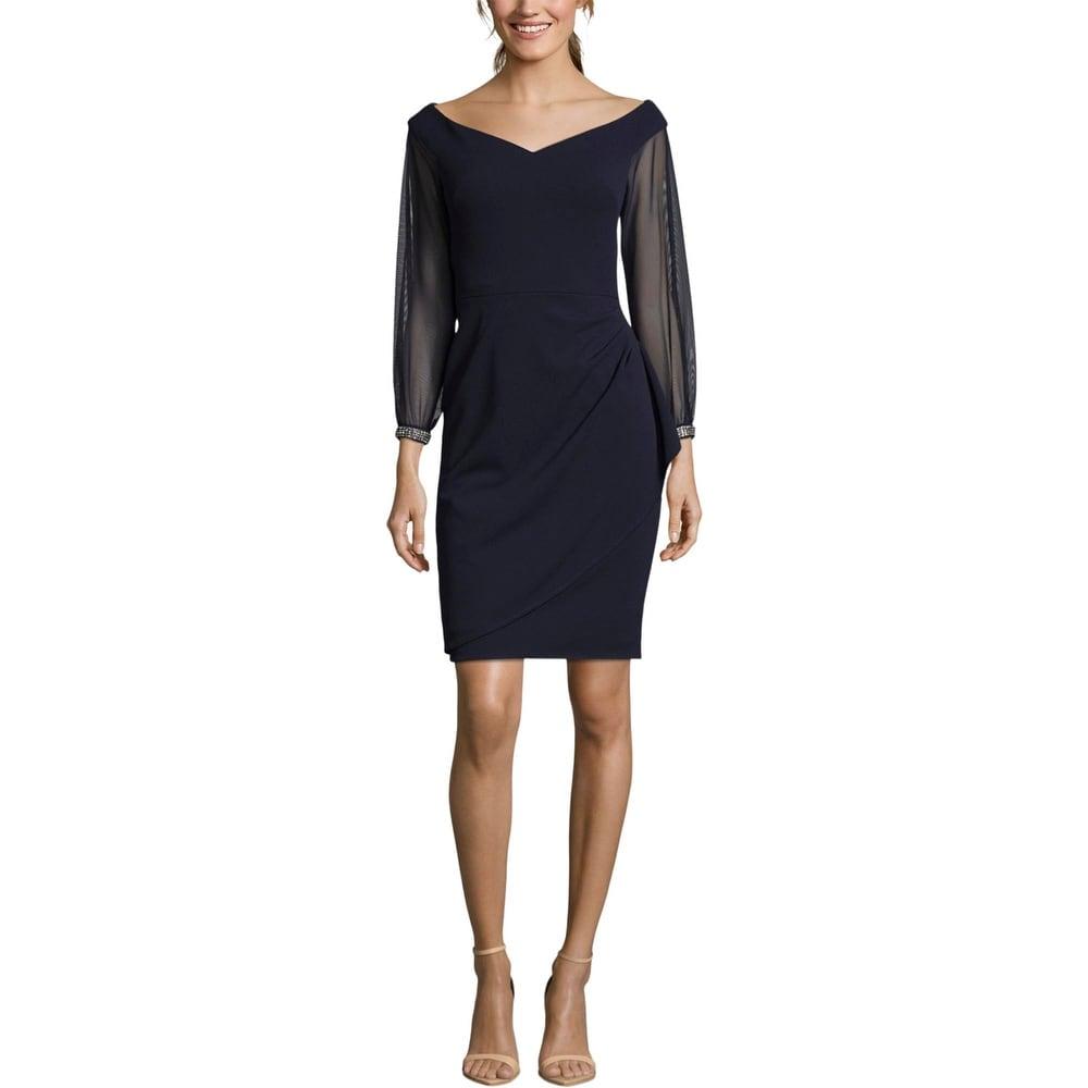 Xscape Womens Sheath Dress Embellished Cocktail