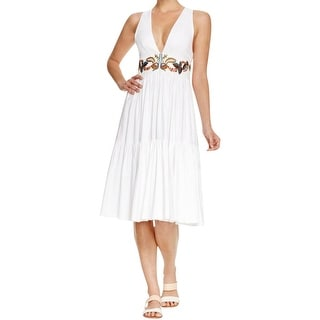 Cynthia Rowley Womens Sundress Twill Embroidered