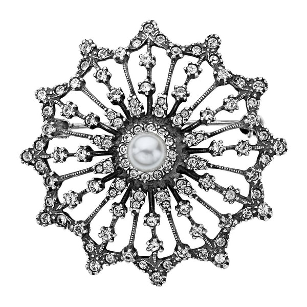 Van Kempen Victorian Simulated Pearl Brooch with Swarovski Elements Crystals in Sterling Silver