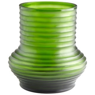 "Cyan Design 09216  Leo 8-3/4"" Diameter Glass Vase - Green"