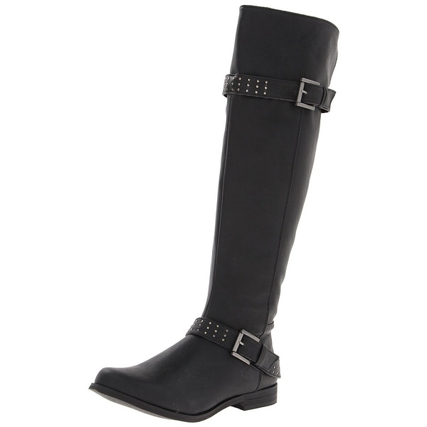 XOXO Womens Brianna Round Toe Knee High Riding Boots