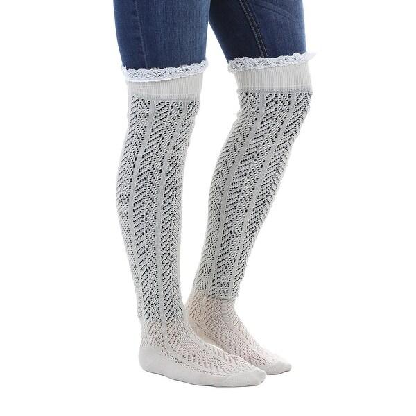 Ivory Crochet Knit Slouch Socks