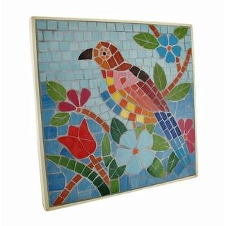Tropical Mosaic Tile Parrot Wall Plaque - Blue