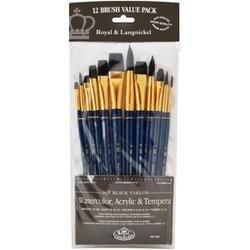 12/Pkg - Black Taklon Value Pack Brush Set