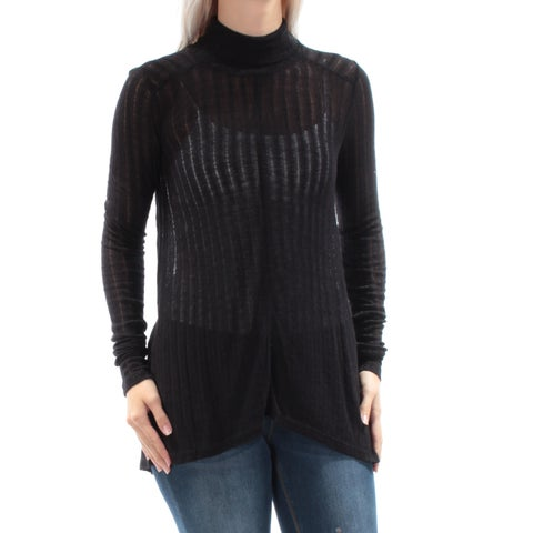 LUCKY BRAND Womens Black Sheer Long Sleeve Turtle Neck Top Size: S