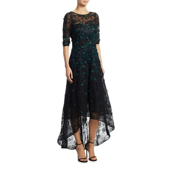 6dfad90e1258 Shop Teri Jon Velvet Flower Hi-Low Cocktail Evening Gown Dress Black Green  - Free Shipping Today - Overstock - 22206445