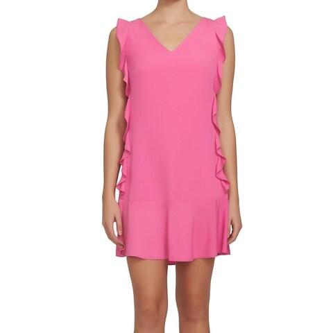 CeCe Peony Pink Women's Size 8 Ruffle Trim V-Neck Shift Dress