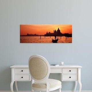 Easy Art Prints Panoramic Image 'Gondolwith church, SantMariDellSalute, Grand Canal, Venice, Italy' Canvas Art