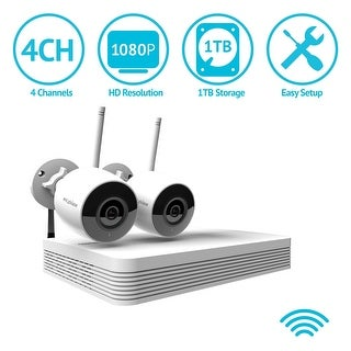 LaView 4 Channel 1080P Wi-Fi Auto-Pairing NVR Security System with (2) 1080P Bullet Wi-Fi IP Cameras and 1TB HDD