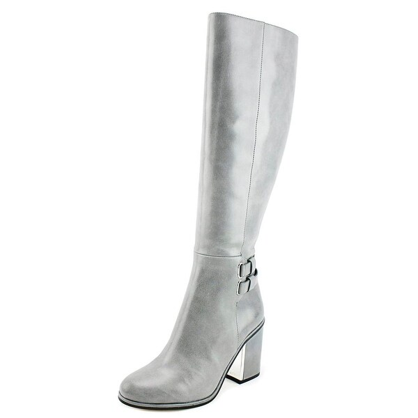 Calvin Klein Camie Siriana Women Round Toe Leather Gray Over the Knee Boot