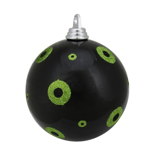 "Candy Black with Lime Green Glitter Polka Dots Christmas Ball Ornament 6"" (150mm)"