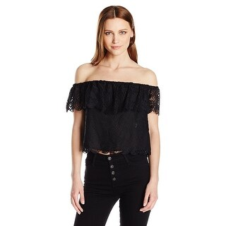 GUESS Sasha Off The Shoulder Lace Top Jet Black