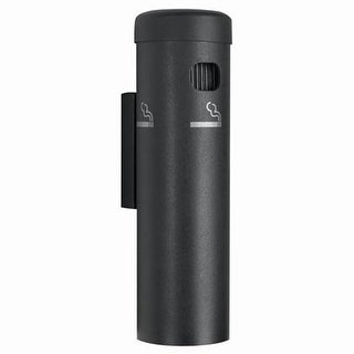 Aarco Wall Mounted Aluminum Cigarette Receptacle Ashtray Disposal - Black