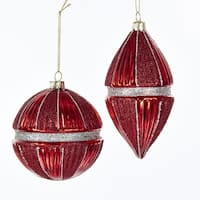 Pack of 6 Silver Banded Red Glittered Glass Ball and Drop Christmas Ornaments 4""