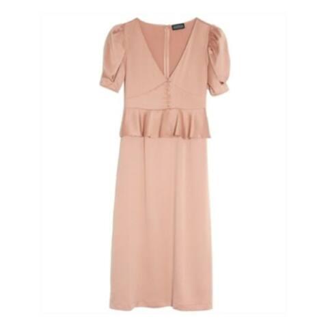 DANIELLE BERNSTEIN Orange Short Sleeve Below The Knee Dress 16