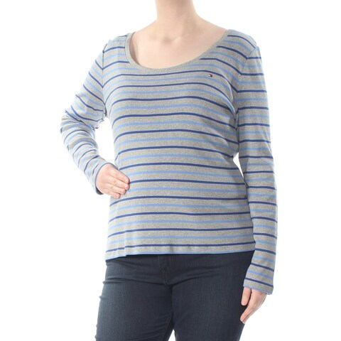 TOMMY HILFIGER Womens Gray Striped Long Sleeve Scoop Neck Top Size: XXL