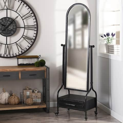 StyleCraft Cheval Mirror with Lower Storage Blackened Grey Drawer