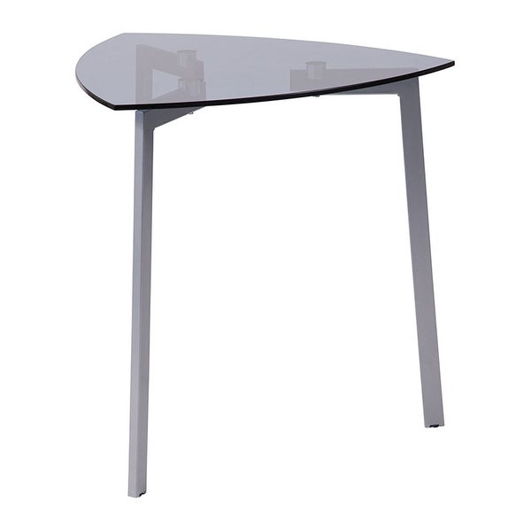 Offex Brighton Collection Contemporary Smoked Gl Triangular Side Table With Silver Metal Legs
