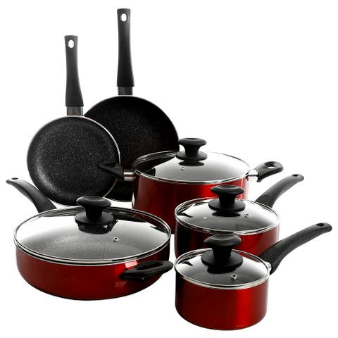 Oster Merrion 10 Piece Nonstick Aluminum Cookware Set in Red