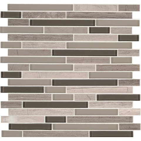 "MSI SMOT-SGLSIL-MOD6MM 12"" x 12"" Linear Mosaic Sheet - Varied Glass and Stone Visual - Sold by Carton (15 SF/Carton) - Grigio"