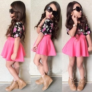 H&Q Girls Summer Short Sleeve Roses Floral Blouse + pink skirts Clothes sets