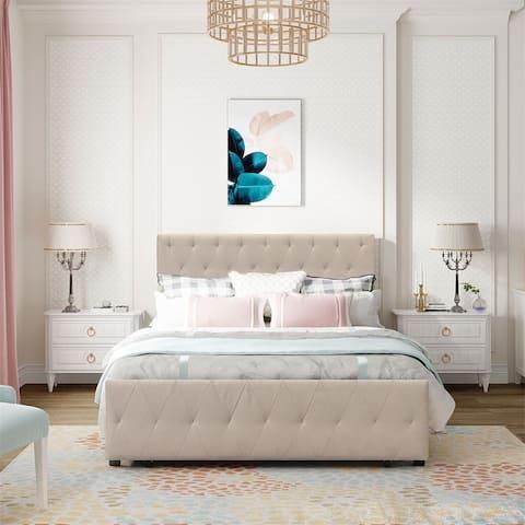 Full Size Storage Bed Metal Platform Bed with a Big Drawer