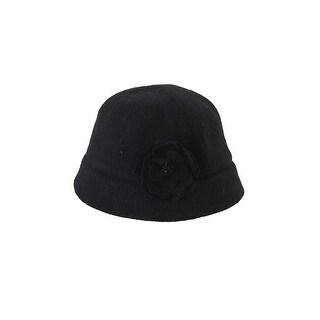 August Hat Black Flower Fantasy Cloche OS
