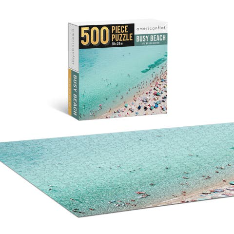 "Americanflat 500 Piece Jigsaw Puzzle 18""x24"" - Busy Beach by Sisi and Seb - Blue - 18x24"