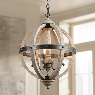 Farmhouse Wood Bead Ceiling Pendant Chandelier Fixture 3-Light Wooden and Metal Chandeliers Hanging Home Decor Lamp,14 x 14 x 25.6 inches Natural Color