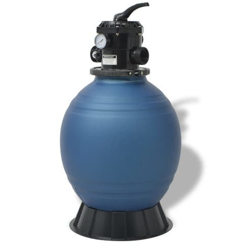 vidaXL Pool Sand Filter with 6 Position Valve Blue 18 inch