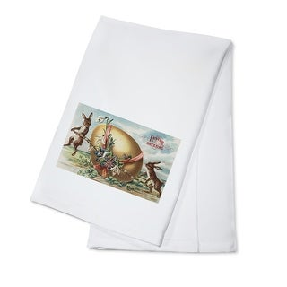 Easter Greetings - Rabbits by a Decorated Egg (100% Cotton Towel Absorbent)