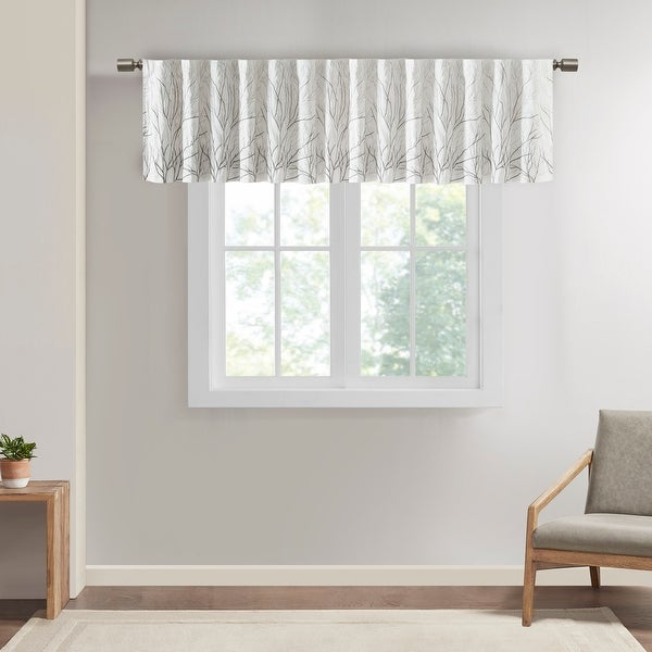 """Madison Park Eliza Faux Silk Embroidered Window Valance - 50 x 18"""" - 50 x 18"""". Opens flyout."""