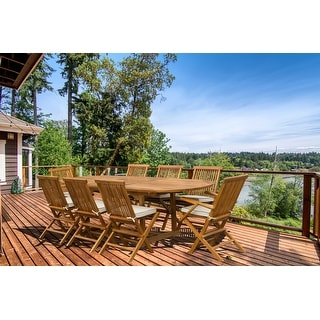 Link to Seven Seas Teak Hawaii Teak Wood Oval Outdoor Patio Extension Table, 71 to 94 inch (Table Only) Similar Items in Patio Furniture