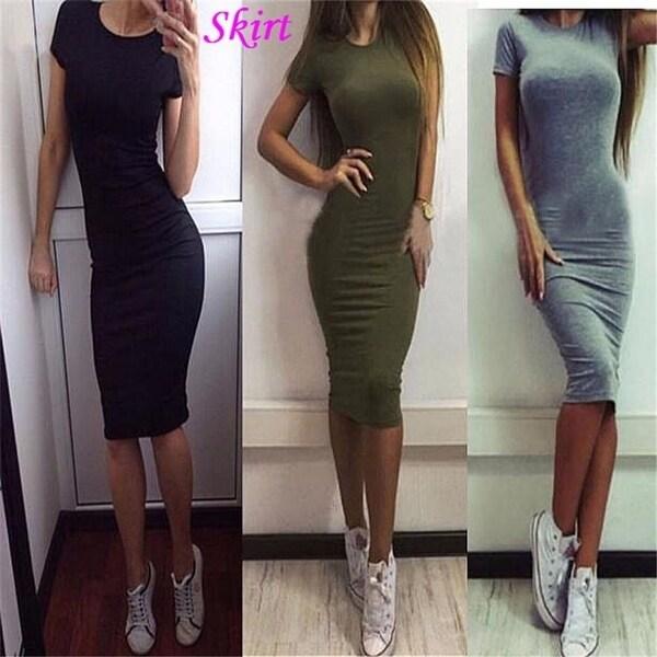 117f8bb01c Fashion Women Tight Short Sleeve Mini Dress hot Skinny Pure Color Skirt