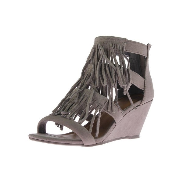 Material Girl Womens Hannah Wedge Sandals Suede Fringe - 5 medium (b,m)