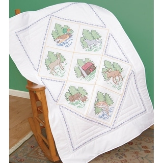 "Stamped White Lap Quilt Top 40""X60""-Great Outdoors"