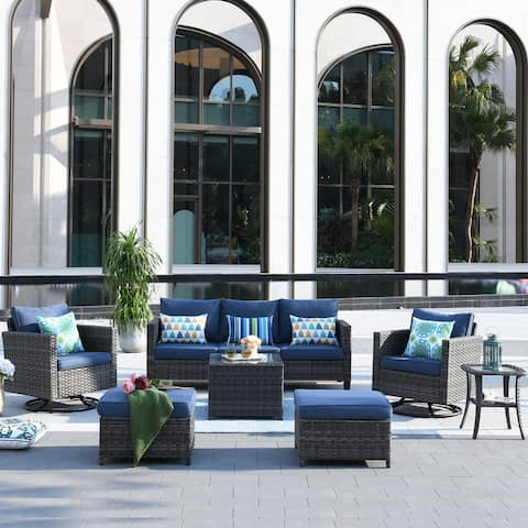 Ovios Patio Furniture Set 7-piece Wicker Rocking Swivel Chair Sectional Sofa Side Tables