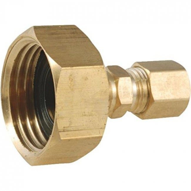 Anderson Metals 757422-1204 Lead Free Brass Adapter, 3/4 FGH x 1/4 Compression