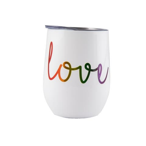 """Cambridge Silversmiths Wine Tumblers with Metallic """"Love"""" Decal Set of 2, 12 ounce - 12 ounces"""