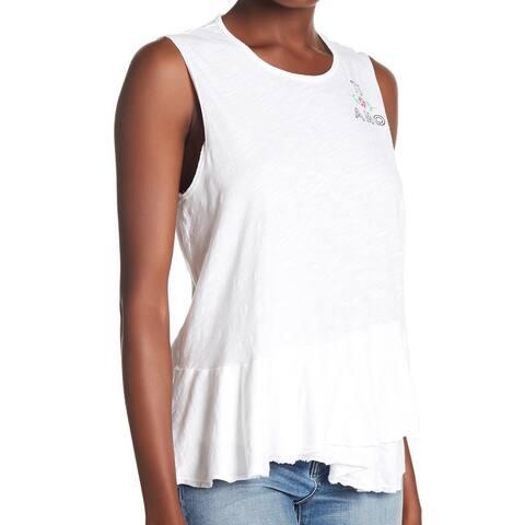 Sundry Womens Top White Size 2 US Medium M Ti Amo Graphic-Print Tank