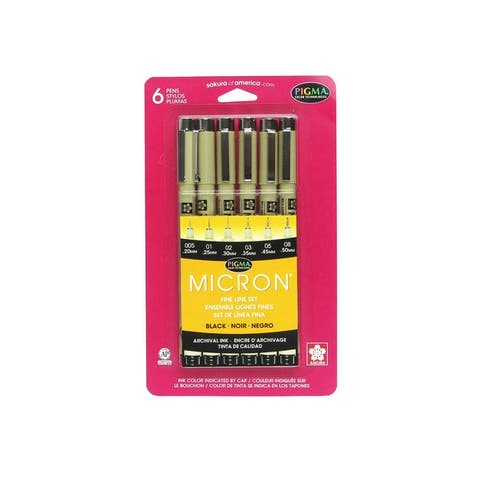 Sakura of america 30062 pigma micron black pen 005 to 08 set of 6