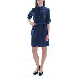 BCX $59 Womens New 2734 Navy Pocketed Tie Collared Cuffed Dress XS Juniors B+B