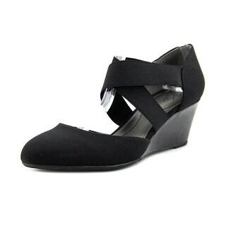 Life Stride Darcy Women Open Toe Canvas Black Wedge Heel