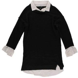 Aqua Womens Juniors Wool Blend 2FER Pullover Sweater - M