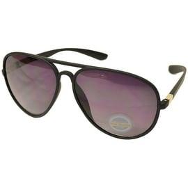 Aviator Sunglasses Black Flexible Frame Smoke Gradient Lens UV400
