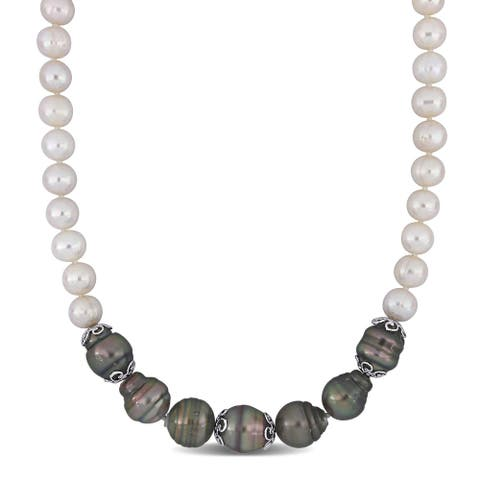 Miadora Sterling Silver Cultured Freshwater and Tahitian Pearl Station Strand Necklace (9-15 mm) - 18 inch x 15 mm x 15 mm