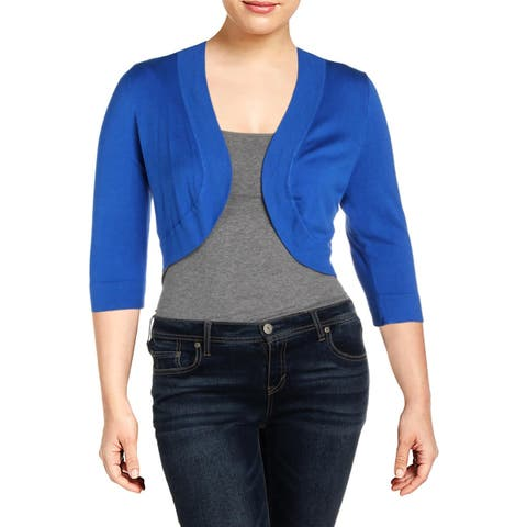 Jessica Howard Womens Crop Sweater Knit 3/4 Sleeves